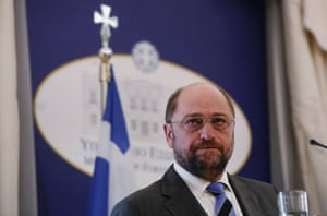 European Parliament President Martin Schulz pauses as he addresses reporters during a news conference at the Greek foreign ministry in Athens November 4, 2013. Schulz said on Monday the recent killings of Golden Dawn members in Greece were cause for worry and threatened to de-stabilize the country which needs to heal through growth and investment not violence.