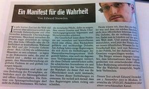 Edward Snowden's 'manifesto for truth' published in Der Spiegel.