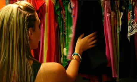 A woman shops for clothes