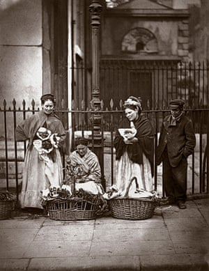 Street Life in London: Flower sellers with their baskets