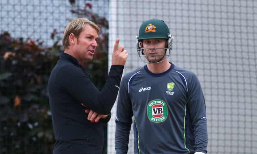 Australia's Shane Warne and Michael Clarke chat