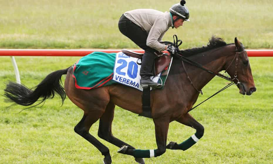 Jonathan Fleutot rides Verema during trackwork ahead of the Melbourne Cup.