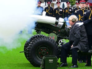 The Mayor of London Boris Johnson joins members of the Armed Forces and volunteers to fire a salute from a 105mm light gun to launch the London Poppy Appeal.