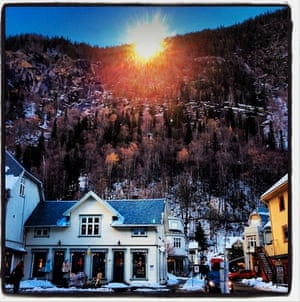 The sun's rays are deflected into the town of Rjukan which is known for its dark winters.