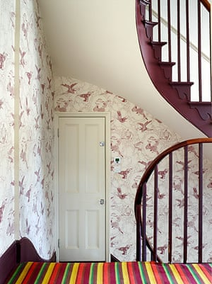 Homes - In With The Old: hallway of period house showing staircase and wallpaper