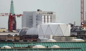 A white structure that, according to the Independent, contains sophisticated electronic surveillance equipment, stands on top of the British embassy in Berlin.