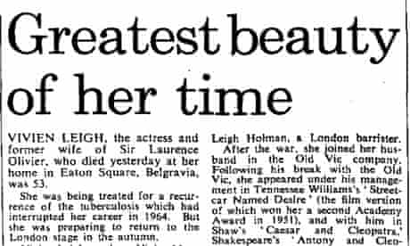 Headline of Vivien Leigh obituary in Observer, published 9 July 1967