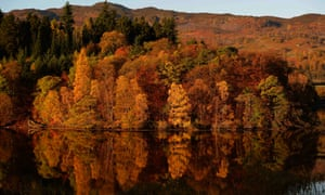 Autumnal leaves are reflected in Loch Faskally, near Pitlochry, Scotland.