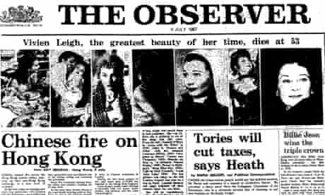 Observer front page headline, Vivien Leigh dies, 9 July 1967