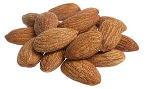 almonds cut out on white background