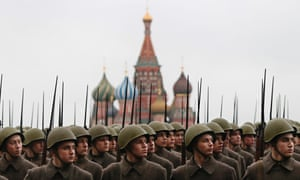 Russian soldiers dressed in Red Army World War II uniform march during the rehearsal for a parade at the Red Square in Moscow, Russia.