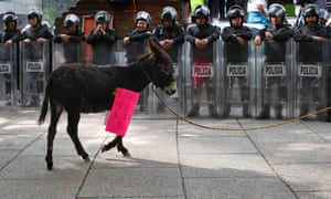A donkey lead by a protesting farmer walks past police patrolling below the Angel of Independence Monument in Mexico City. Farmers are demanding their basic food products, such as beans, be bought from them directly by the government instead of intermediaries known as coyotes.