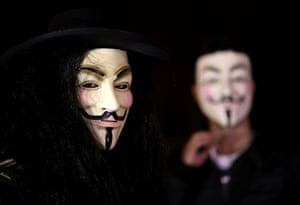 Anonymous International: Lebanese activists wear masks as they protest against corrupt governments and corporations, in support of the anonymous activist moment, at the Martyrs square, in downtown Beirut, as part of a Million Mask March of similar rallies around the world on Guy Fawkes Day.