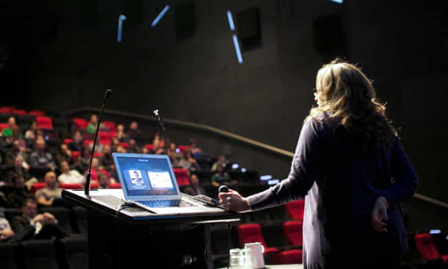 Janice Fraser delivers the keynote address at the recent Products Are Hard conference. Photo credit. Patrick Smith