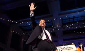 New Jersey governor Chris Christie arrives to speak at his election night event after winning a second term at the Asbury Park Convention Hall.