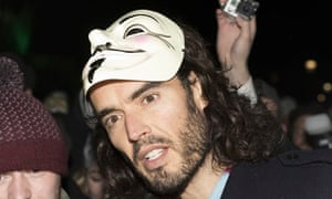 Russell Brand supports Anonymous march in London
