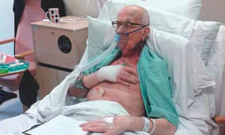 Michael Tyrrell handcuffed in a hospital bed the day before he died