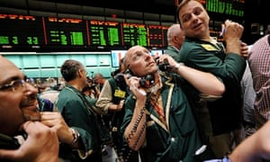Traders on the floor of the New York Mercantile Exchange