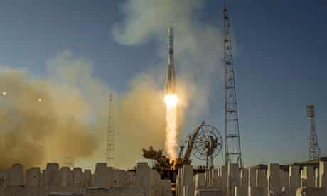 The Soyuz TMA-11M rocket is launched