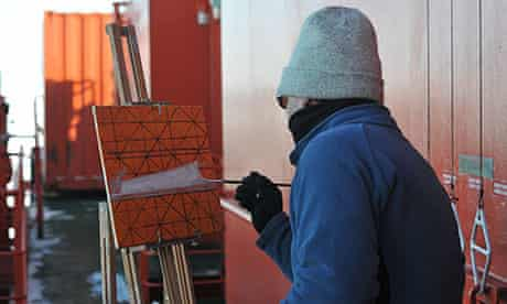 John Kelly painting in Antarctica