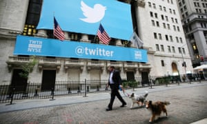 The New York Stock Exchange with Twitter logo
