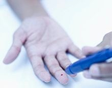 A human blood sample being taken.