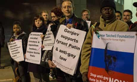 Peter Tatchell at a protest against Valery Gergiev and anti-gay laws in Russia at the Barbican