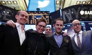 Dick Costolo, Jack Dorsey, Biz Stone and Evan Williams on the floor of the New York Stock Exchange