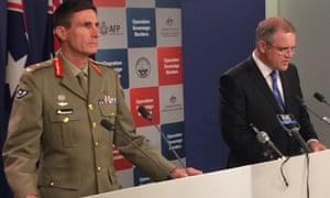 Minister Scott Morrison (right) and Major General Angus Campbell