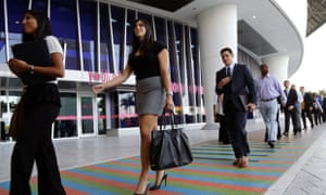 Job applicants arrive for an internship job fair held last month in Miami. October jobs report is due later, delayed by a week because of the government shutdown. Photo:  AP/Lynne Sladky