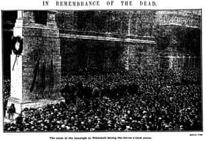 Guardian photographs of two minutes' silence in London and Manchester, 11 November 1919