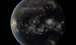 A satellite image of Typhoon Haiyan approaching the Philippines, made using images captured by the geostationary satellites of the Japan Meteorological Agency and EUMETSAT.