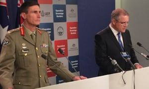 Immigration Minister Scott Morrison and Major-General Angus Campbell at Friday's briefing.
