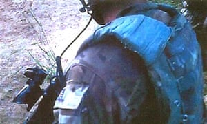 Footage from a helmet-mounted camera of a Royal Marine on patrol in Afghanistan