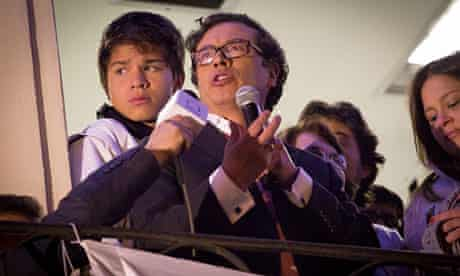 Gustavo Petro addresses supporters after being removed as Bogota's mayor