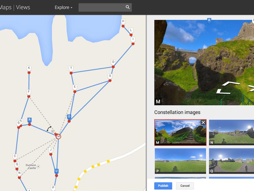 A screenshot of the Google street view editor
