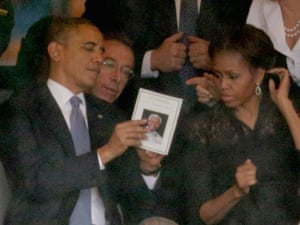 Barack and Michelle Obama at Nelson Mandela's memorial service on 10 December 2013.