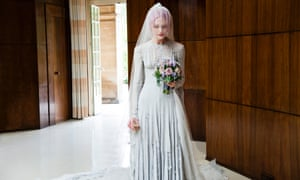 Pale grey slashed chiffon wedding dress and veil designed by Gareth Pugh, 2011 worn by Katie Shillingford for her marriage to Alex Dromgoole.