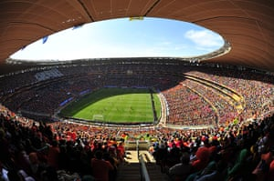 largest football stadiums: FNB stadium Soccer City Stadium in Soweto, Johannesburg, South Africa
