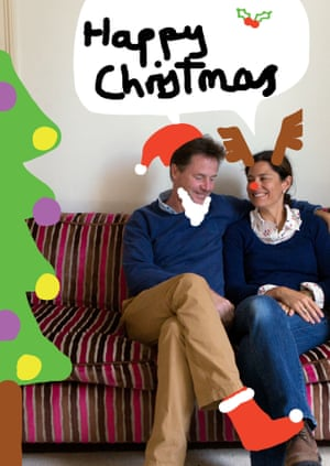 The Clegg family Christmas card featuring a photograph of Deputy Prime Minister Nick Clegg with his wife Miriam with Christmas doodles added by the Cleggs' children.