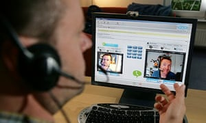 DEU, Germany : Phone call through the internet, skype