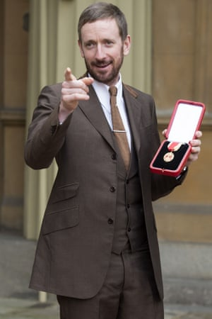 Sir Bradley Wiggins receives his Knighthood for services to cycling at Buckingham Palace, London, UK.
