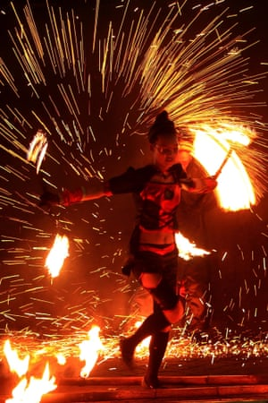A fire dancer performs during the 'Art of Fire' show in Pasay City, Philippines.