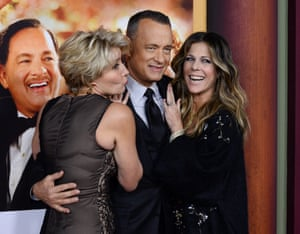 Emma Thompson, and Tom Hanks and Hanks' wife, Rita Wilson attend the premiere of Saving Mr. Banks in Burbank, California.