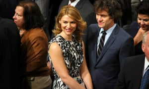 US actress Claire Danesand her husband, British actor Hugh Dancy are among the guests during the Nobel Peace Prize ceremony in the city hall in Oslo, Norway.