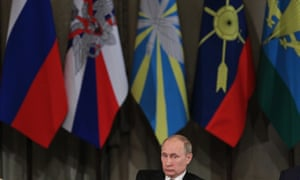 Russian President Vladimir Putin at the Defence Ministry Board in Moscow.