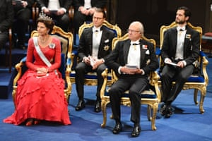 Queen Silvia, Prince Daniel, King Carl XVI Gustaf and Prince Carl Philip of Sweden attend the Nobel Prize Awards Ceremony at Concert Hall in Stockholm.
