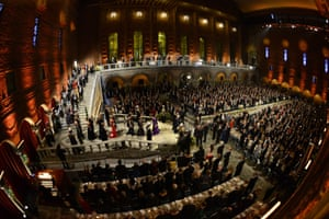 Guests arrive for the traditional Nobel Prize banquet at the Stockholm City Hall following the Nobel Prize award ceremonies for Medicine, Physics, Chemistry, Literature and Economic Sciences.