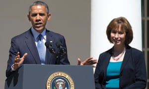 President Barack Obama with the newly-confirmed DC circuit judge Patricia Ann Millett, in June.