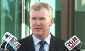 Tony Burke talking to the media in Canberra